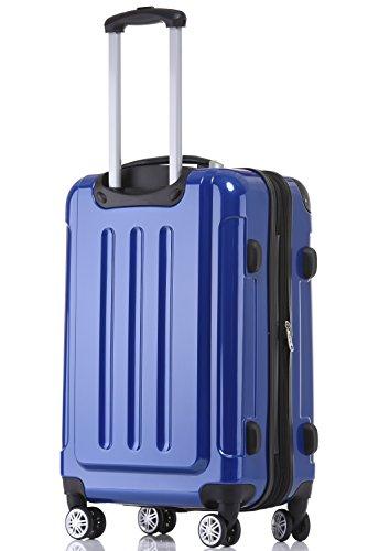 BEIBYE Hartschalen Koffer Trolley Rollkoffer Reisekoffer 4 Zwillingsrollen Polycabonat (Blau, 76cm -110L) - 2