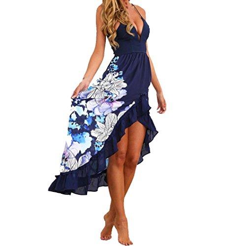 Longra 2018 Sommerkleid Lang Damen Maxikleider Strandkleider Damen Elegant Lang Cocktail Partykleid Festliche Kleider mit Blumen Schöne Druckkleider Ärmellos Beach Spaghettikleid (Blue, S)