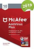 McAfee Antivirus 2019 Plus | 10 Dispositivi | Abbonamento di 1 anno | PC/Mac/Smartphone/Tablet