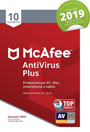 McAfee Antivirus 2019 Plus | 10 Dispositivi | Abbonamento di 1 anno | PC/Mac/Smartphone/Tablet | Codice di attivazione via mail
