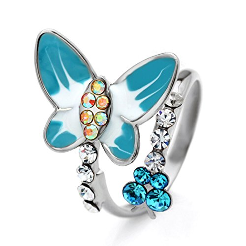 Neoglory Jewellery Bague En Cristal Autrichien Femmes Taille Ajustable Couleur Bonbon Bijoux Femme En Coffret Bleu