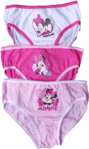 Disney Minnie Maus Slips 3er Set - Minnie mit Herz - Pink-Rosa/Weiß-Pink/Rosa-Weiß