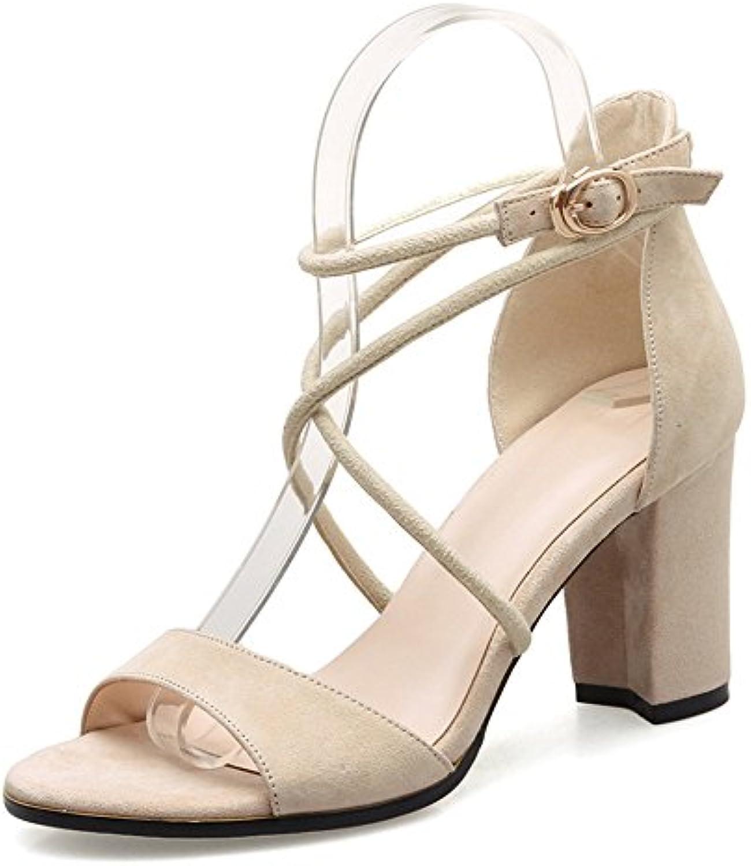 ZHIRONG Sandalias de tacón alto de verano de las mujeres Roma Vintage tobillo correas de punta abierta zapatos...