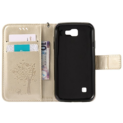 iPhone 7 Custodia,iPhone 7 Cover Portafoglio - Cozy Hut Elegante Pittura Gatto e Albero Design Folio PU pelle Leather Wallet Supporto Stand e Porta Carte Integrati Portafoglio Flip Custodia Case Cover doro