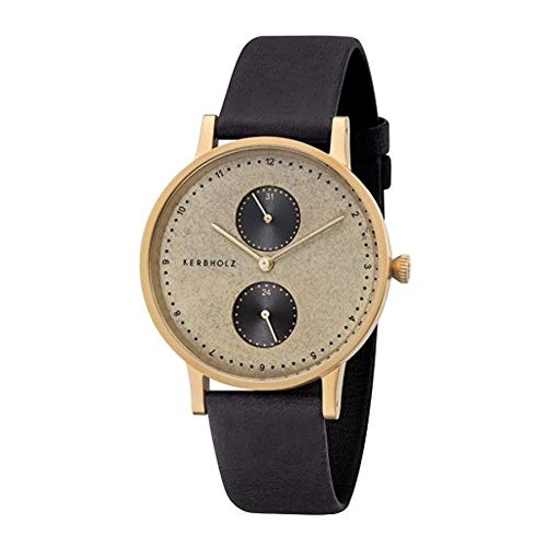 Kerbholz Armbanduhr Clara Golden Slate Midnight Black