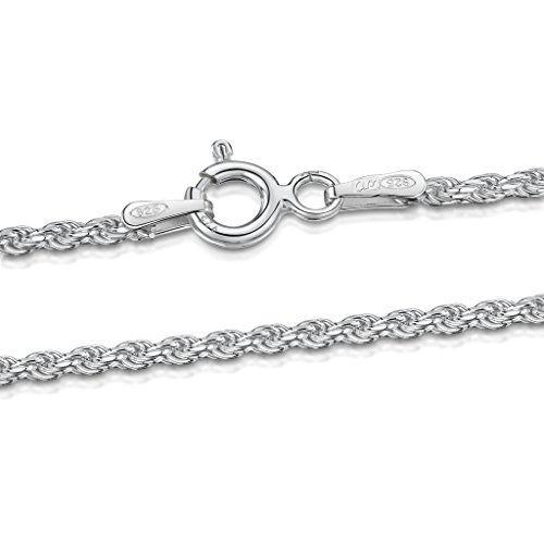 Amberta® Joyería - Collar - Fina Plata De Ley 925 - Cadena de Soga (Corda) - 1.5 mm - 40 45 50 55 60 cm