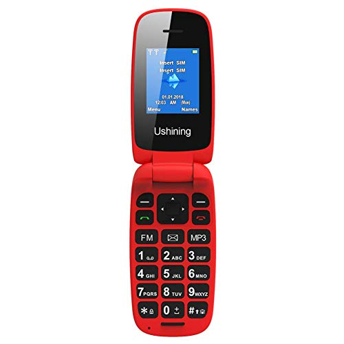 5e4546f7b1a USHINING Red Flip Mobile Phone Big Button Easy to Use
