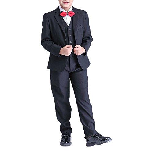 Xiongfeng®Jungen 5 Stück Smoking Anzug Kommunionsanzug Festlich Schwarz,110 (Stück Anzug Schwarz 5)