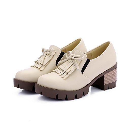 AllhqFashion Femme Pu Cuir à Talon Correct Rond Couleur Unie Lacet Chaussures Légeres Beige