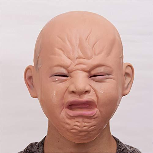 wachsene Halloween-Maske Horror Kopfbedeckungen Geist furchterregende Männer und Frauen Geist Gesicht Maskerade Dämon Latex Clown Maske, Weinen Puppe Maske Spielzeug ()