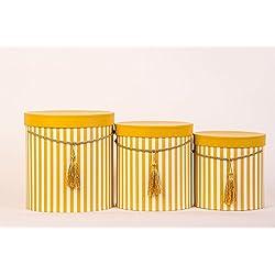 Juego de 3cajas redondas con tapa, diseño de rayas en violeta, con cordel y borla, Sombrerera, Deko Caja con rayas, redondas flores Caja, amarillo, L 17 x 18 cm, M 15 x 15 cm, S 12,5 x 12,5 cm.