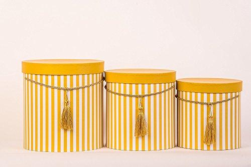 Conjunto de cajas de almacenamiento 3 redondos con tapa, rayadas en amarillo, con cordón y borla, sombrerera, caja decoración con rayas, caja de flores redonda en color amarillo oscuro