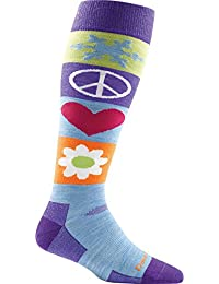 Majesty Large Darn Tough Peace Love Snow Over The Calf Cushion Socks Women