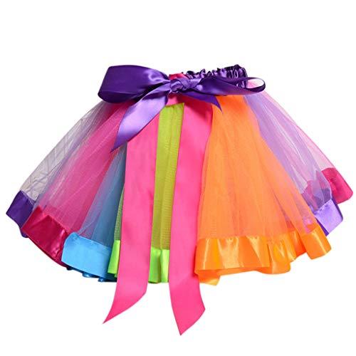 Lisanl Kinder Kleinkind Mädchen Ballett Tanz-Rüschen Plissierter Tutu Rock Fancy Rainbow Color Glitzer Satin Rand Petticoat Schnürung Schleife A-Linie Kleid 0-8 T M Qc (Crafts Jahre Alt 3 Halloween)