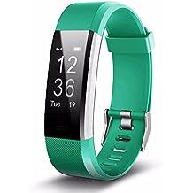 Fitness Tracker, monitor de ritmo cardíaco pulsera de fitness Bluetooth impermeable podómetro IP67, actividad Tracker sueño Tracker GPS Racing, calorías pasos quemados, notificaciones de llamadas/SMS/SNS, tiempo, IOS /Android--Manual de Español (C)