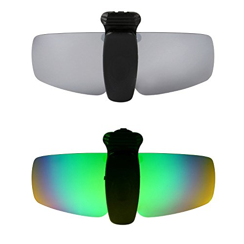 HKUCO Verstärken Sonnenbrille Clip Titan/Grün Polarisiert Lenses Hat Visors Clip-on Sonnenbrille Zum Fishing/Biking/Hiking/Golf UV400 Protect