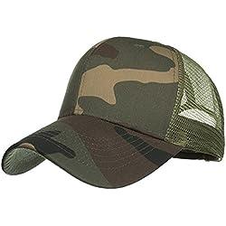 Sannysis Moda Mujer Hombres Ajustable Camuflaje Gorra de verano Sombreros de malla Sombra del Sombrero de Béisbol,Sombrero Casual unisex camionero malla sombrero visera ajustable (ejército verde)