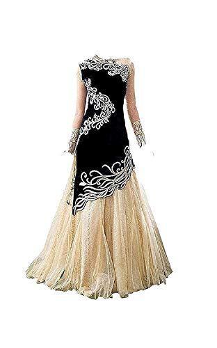 HS Creation Princess Baby Girls Birthday Party wear Red,Blue,Pink,Black (Velvet) Semi-Stitched Gown (Baby Girl 8-10 Year_Free Size) (Black)