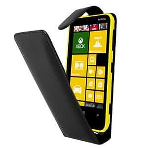 Schwarz Leder Aufklappbare Tasche Hülle für Nokia Lumia 620 - Flip Case Etui Cover