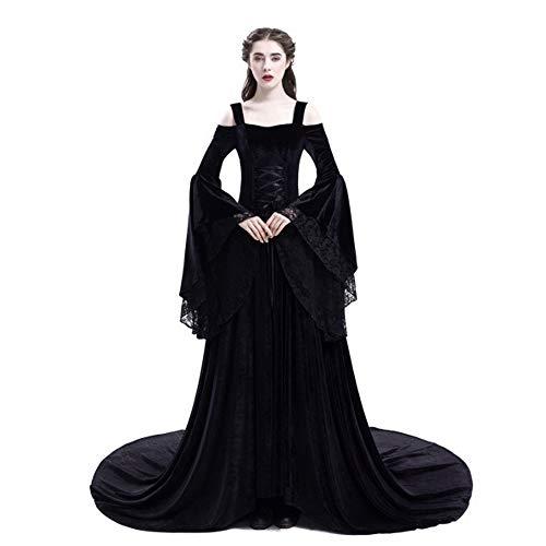 Liyukee Frauen Mittelalter Kleid Vintage Style Sexy Schulterfrei Gothic Kleid Bodenlangen Cosplay...