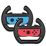 Althemax 2 x controlador de coche de carreras muelle remoto accesorio de rueda Joy-Con negro para Nintendo Switch Mario Car Juegos de Carreras