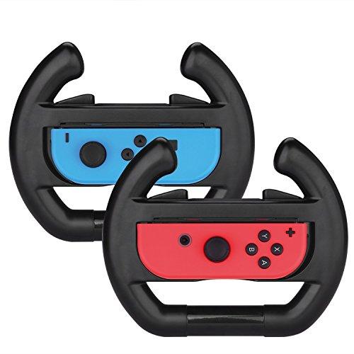 Althemax 2 x Race Car Controller Fernbedienung Dock Wheel Zubehör Joy-Con schwarz Für Nintendo Switch Mario Car Racing Spiele