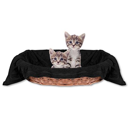 Haustierdecke Katzendecke Kuscheldecke Tierdecke , angenehm und super weich in vielen verschiedenen Farben erhältlich (80x120 cm / schwarz - black)