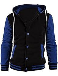 SODIAL(R) Sweats a Capuche Vogue Nouveau Baseball Jacket Cardigan Hommes Casuel Bleu L
