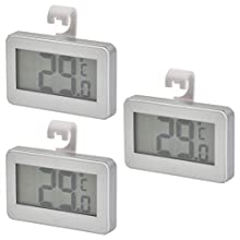 3 Pcs Fridge Digital Thermometer,LCD Display Freezer Thermometer Refrigerator Room Thermometer,Waterproof Freezer Thermometer with Hook White(- 20℃~60℃/ -4°F~140°F)