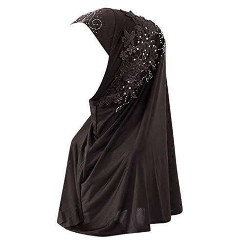 Auiyut Muslimische Turban Kopftuch Hijab Damen Hijab Scarf Cover Double Loop Slip On Scarf Pull Over Crepe Convenient Shawl Headscarf Islamischen Kopfbedeckungen
