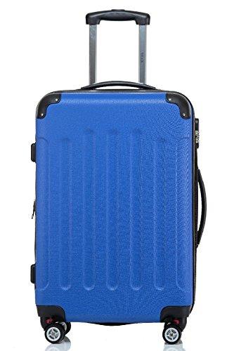 Reisekoffer / Trolley Gr. L ABS Hartschale 360 Grad Zwillingsdoppelrollen mit TSA Schloß von Shaik-Oceanblau