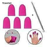 Atomus 10pcs/lot Nail Art Soak Off Clip Cap Coque en silicone gel UV Dissolvant pour vernis à ongles Wrap repousse cuticule Manucure Outil de nettoyage de vernis réutilisables