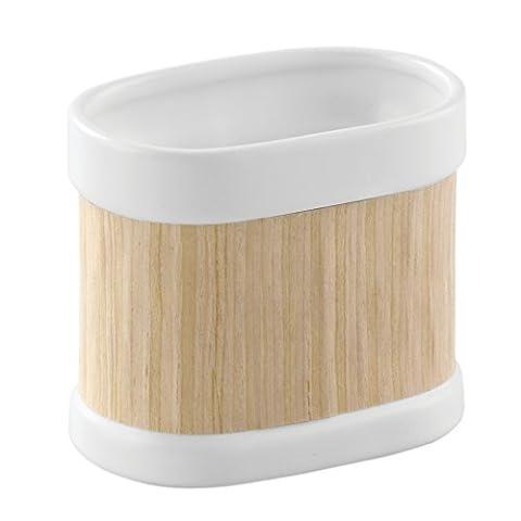 Interdesign 90420EU RealWood Porte Gobelet pour Brosse à dents Céramique/Placage de bois Blanc/Finition Bois Clair 10,5 x 6,35 x 8,89