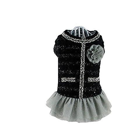 Meijunter Chiens vêtements 2017 Small Dress Pet Dog Thick Lace Skirt Cotton Dress Clothes Apparel (Colour:Black;Size:XXL)