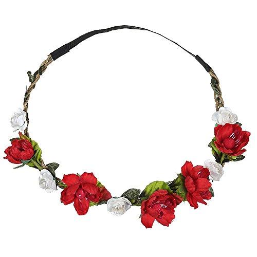 Likecrazy Haarband Haar Kopf Band 20er Jahre Festival Hochzeit Girlande Prinzessin Boho Damen Blumen Haarkranz Brautbrautjungfern Kostüm Accessoires Blumenstirnband