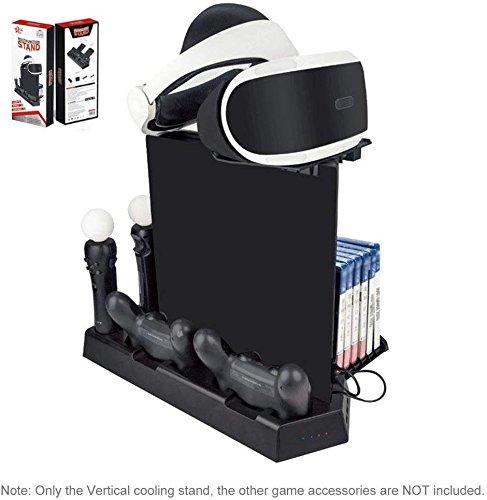CHIN FAI Vertikales Standkühlungsladungs-Dock, 5-in-1 DVD Halter, 11PCS Spiele-Disketten-Speicher, VR-Standplatz, Doppelladestation für PS4 / PS4 dünn / PS4 Pro/PS VR