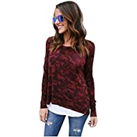 Keepwin Damen Casual Bluse Frauen Herbst Tarnfarbe Langarmshirt Mode Zurück Zip Oberteil Tops Hemd