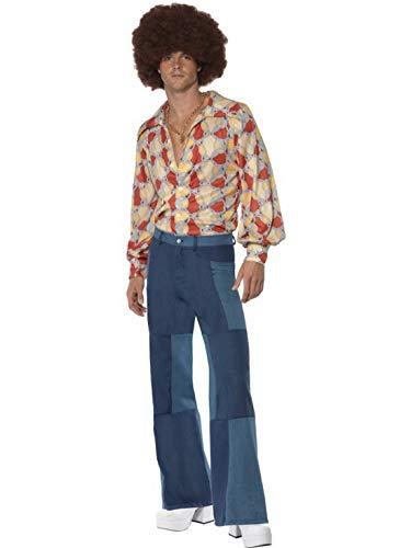 Luxuspiraten - Herren Männer 70er Jahre Retro Kostüm mit Schlaghose im Jeans Look und Flower Power Tapeten-Hemd, perfekt für Karneval, Fasching und Fastnacht, L, Blau