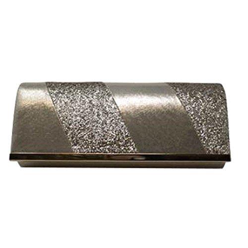 NEU Kunstleder Glitzer Schimmer metallisch Trimm Damen Hochzeit Geldbörse Clutch Tasche - Schwarz, Medium Gold