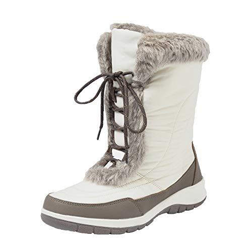 Shenji Scarpe Donna Invernali - Stivali da Neve Donna Stringate H7629 Bianco 39