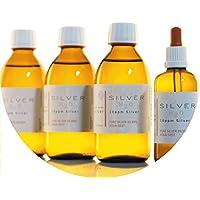 Preisvergleich für PureSilverH2O 850ml Kolloidales Silber (3X 250ml/10ppm) + Pipettenflasche (100ml/10ppm) Reinheit & Qualität seit...