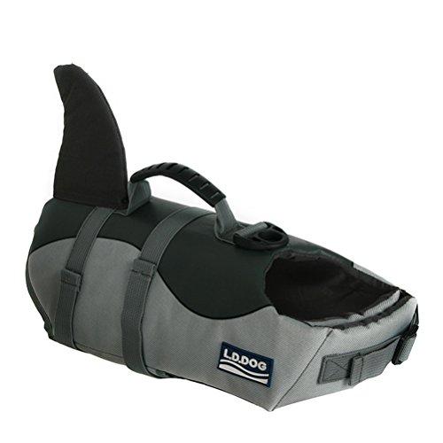 POPETPOP Schwimmweste Hund Haifisch Form Lebensretter Sicherheit Weste Einstellbare mit Griff für Große Hunde 22-35kg ()