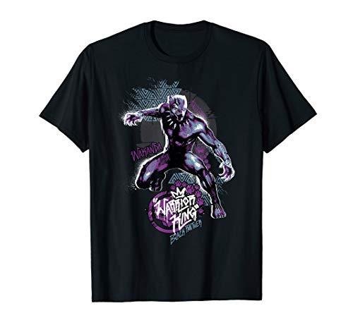 Marvel Black Panther Warrior King Graffiti Portrait T-Shirt (Black Panther-marvel Shirt)