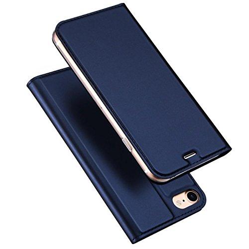 Verco Handyhülle für iPhone SE, Premium Handy Flip Cover für Apple iPhone 5S Hülle [integr. Magnet] Book Case PU Leder Tasche, Blau