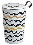 TEAEVE® Teetasse, Becher mit Sieb + Deckel, 'Black&White WAVES LUX Line' im Geschenkkarton