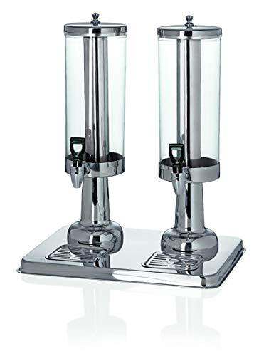Zweifach Getränkedispenser Getränkespender doppel mit Zapfhahn, 2X 3 Liter, für Kaltgetränke, mit Kühlfunktion durch Crushed Ice, Silber, Gastronomie-Qualität