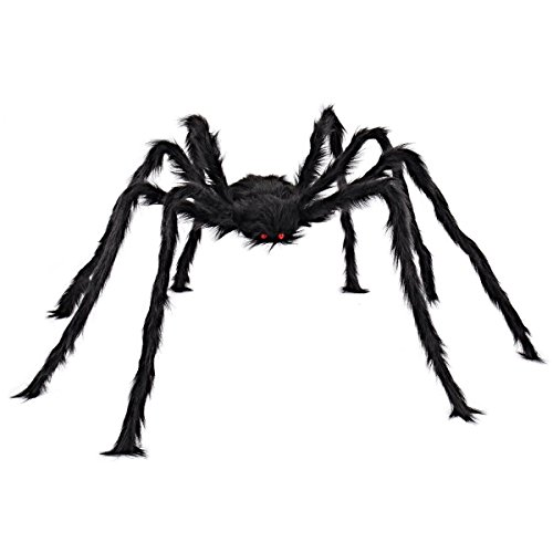 TENGGO 5Ft/150Cm Hairy Giant Spider Decorations Huge Halloween Outdoor Decor Toys for Party - Giant Spider