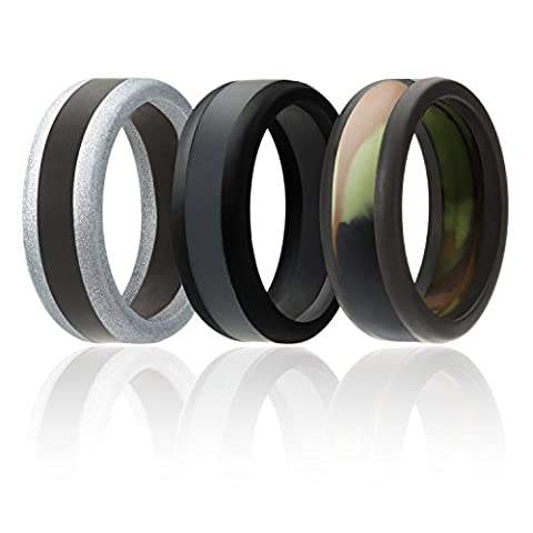 Silicone Wedding Ring For Men By SOL (Power X Series), 3 Pack Silicone Rubber Wedding Band, Camo, Black, Grey, Silver - size 8