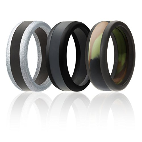 Silicone Wedding Ring For Men By SOL (Power X Series), 3 Pack Silicone Rubber Wedding Band, Camo, Black, Grey, Silver - size 10