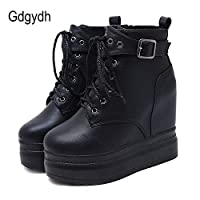 LFLXUE Lace Up Boots Heels Platform Wedges Ankle Boots For Women Gothic Leather Autumn Shoes Girl Boots Rivet With Zipper